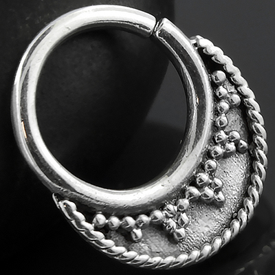 Sterling Silver Dotted Blade Seamless Septum Ring