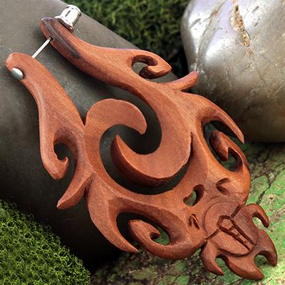 Sabo Wood Mystic Scarab Earring Stirrups