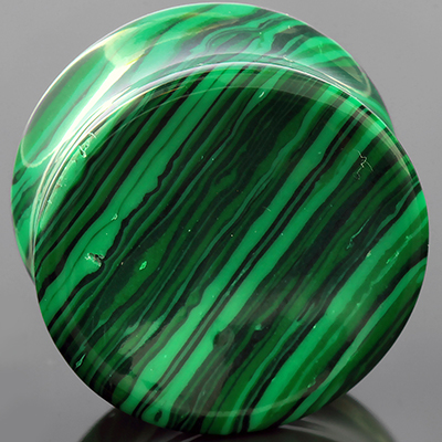 Synthetic malachite concave plugs
