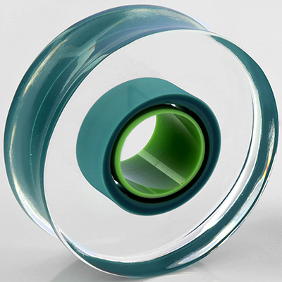 Glass Lifesaver Plugs (Teal with Light Green Center)