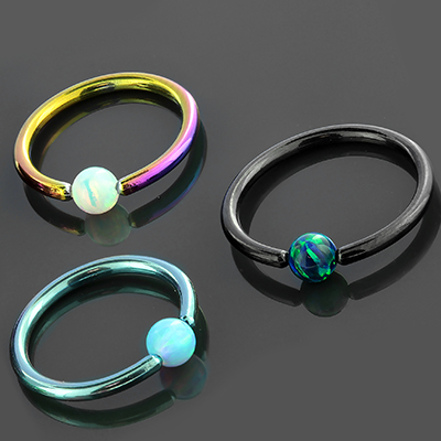 Colored titanium captive with synthetic opal bead