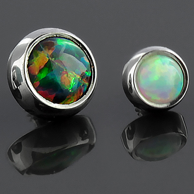 Internally Threaded Titanium Bezel Set Cabochon Ends