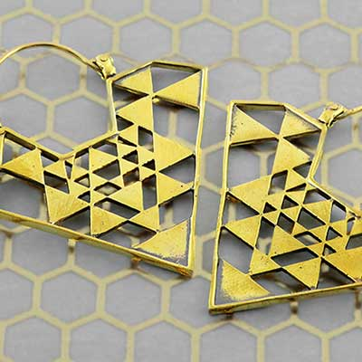Solid brass geometric hoops