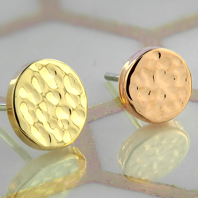 14k Gold Hammered Disc Threadless End