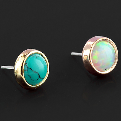14k Gold Super Flat Bezel Set Cabochon Threadless End