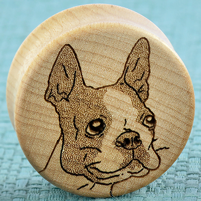 Curly Maple Wood Boston Terrier Plugs