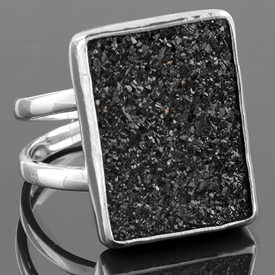 Sterling Silver and Electroplated Druzy Ring (Size 9)