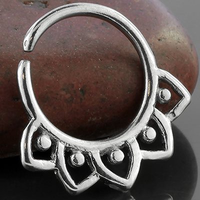 Silver Spiked Floral Septum Ring