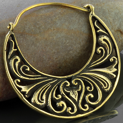Brass filigree hoop earrings