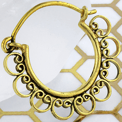 Solid brass petal hoop earrings