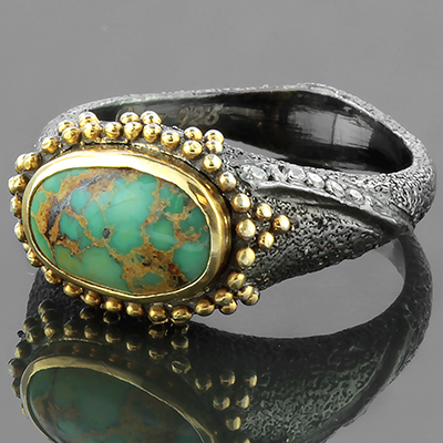 Oxidized Silver with Persian Turquoise Ring