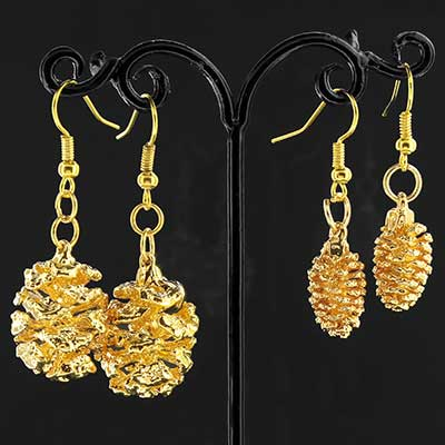24k Gold Electroplated Pine Cone Earrings