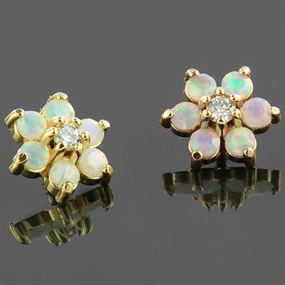 18k Gold Internally Threaded Diamond Flower End (Genuine Diamond/White Opal)