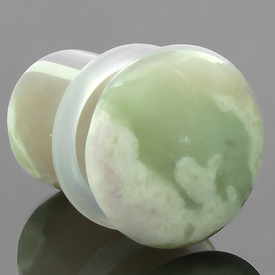 Single Flare Green Tree Agate Plug