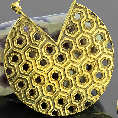 Brass honeycomb hoop earrings