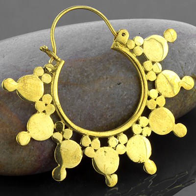 Solid brass sunburst hoop earrings