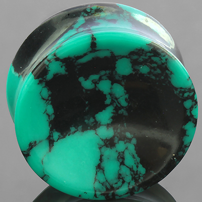 Synthetic green spiderweb turquoise concave plugs