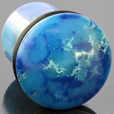 Single flare synthetic blue agate plug