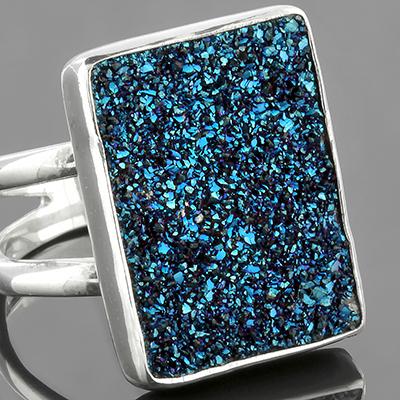Silver and Titanium Druzy Ring