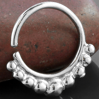 Silver Beaded Septum Ring