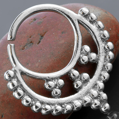 Silver Adorned Beaded Septum Ring
