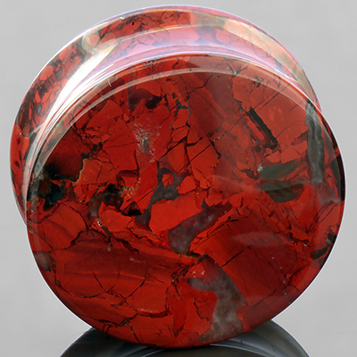 Red Brecciated Jasper Stone Plug