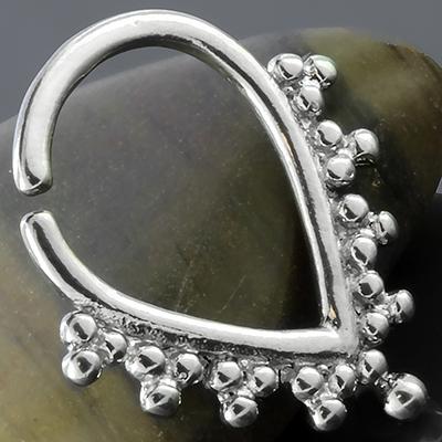 Silver teardrop beaded septum ring