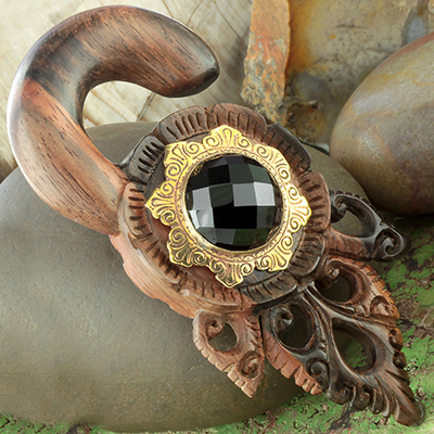 Ebony Wood Typhoon Design with Brass and Faceted Black Agate