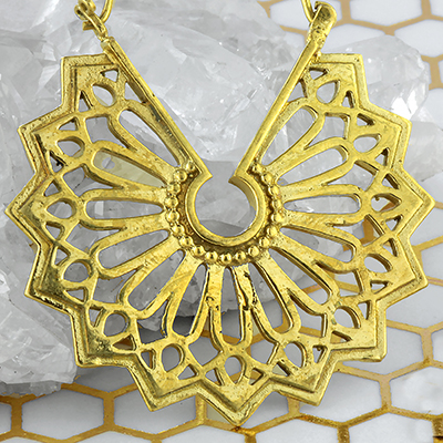 Brass Star Mandala Hoop Earrings