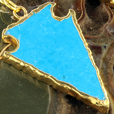 Gold plated synthetic turquoise arrowheads with brass coils