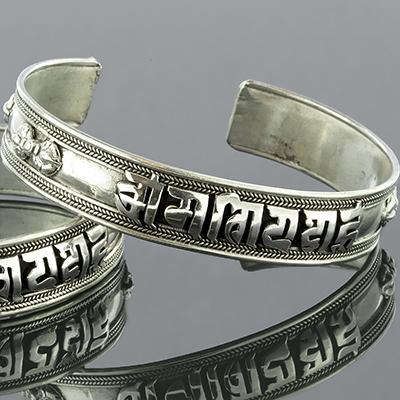 Silver Ohm mantra bracelet