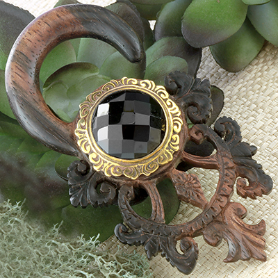 Ebony wood Tears of Gaia with brass and faceted black agate