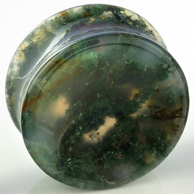 Double Flare Moss Agate Concave Plugs