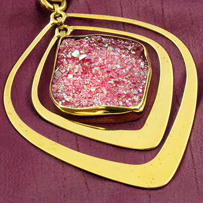 Solid brass and pink druzy movement weights
