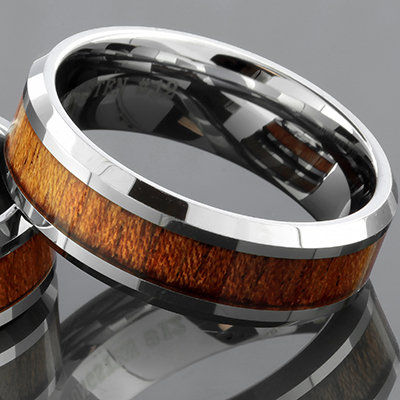 Tungsten Ring with Koa Wood Inlay