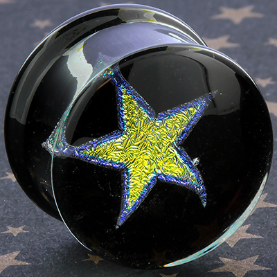 Pyrex solid dichroic star plugs (Yellow star/ violet outline)