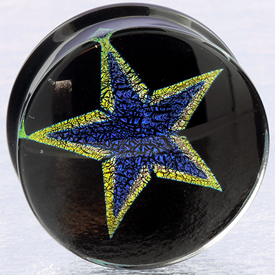 Pyrex Solid Dichroic Star Plugs (Blue Star/ Yellow Outline)