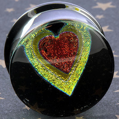 Pyrex Dichroic/Foil Heart Plugs (Red Heart/ Yellow Outline)