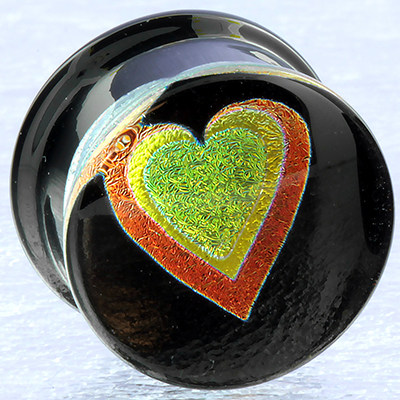 Pyrex Dichroic/Foil Heart Plugs (Yellow Heart/ Bright Orange Outline)