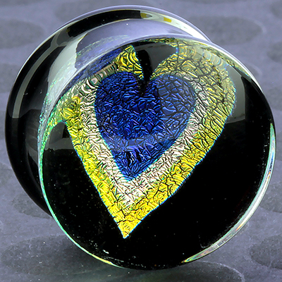Pyrex Dichroic/Foil Heart Plugs (Blue Heart/ Yellow Outline)