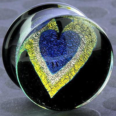Pyrex dichroic/foil heart plugs (Blue heart/ yellow outline)