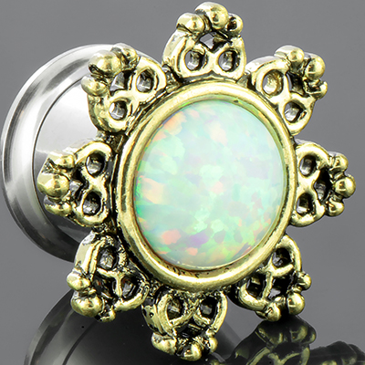 Lotus Flower Eyelet with Synthetic Opal