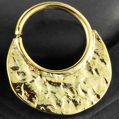 14K Gold plated hammered seamless ring