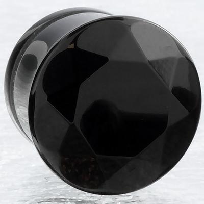 Single flare faceted obsidian plug