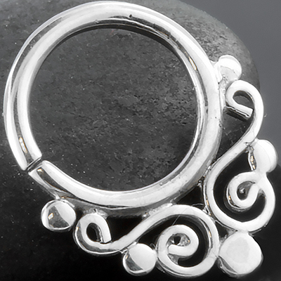 Silver Swirl Seamless Septum Ring
