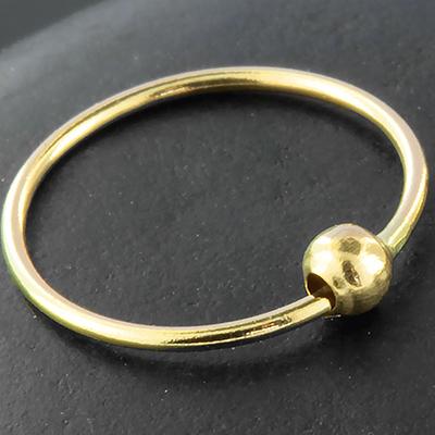 14K gold fixed bead ring