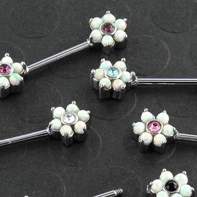 Opal flower nipple barbell