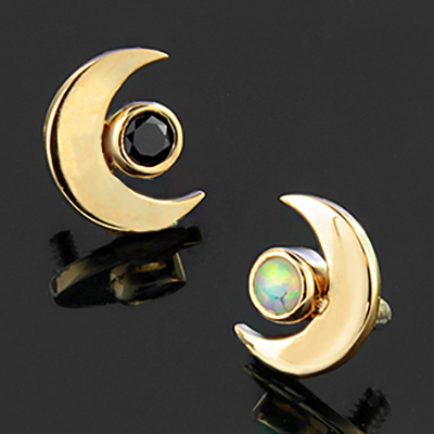 18k gold moon with bezel set cluster threaded end