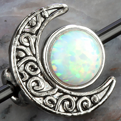 Color-coated moon opal circle industrial barbell set