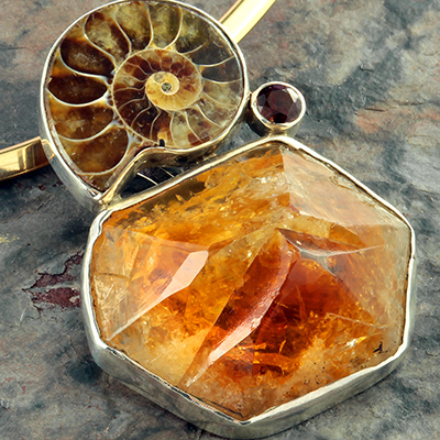 Citrine and Ammonite Necklace